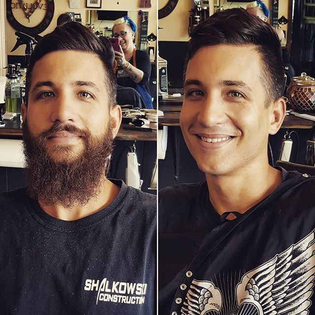 Great shot of a gentleman before and after a haircut and beard shave