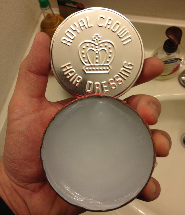 Royal Crown Hair Dressing open can