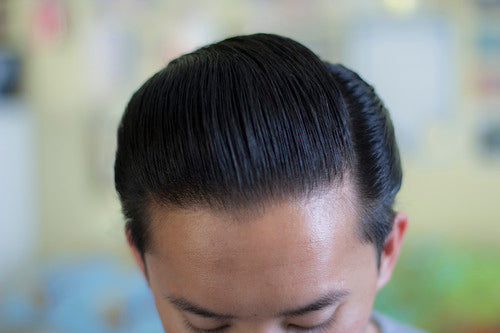 The Pomp hair styled with Rusak No.2 Pomade - top view