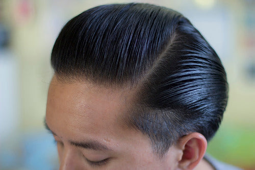 The Pomp hair styled with Rusak No.2 Pomade - side view