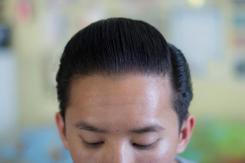 The Pomp hair styled with Rusak No.2 Pomade - front view