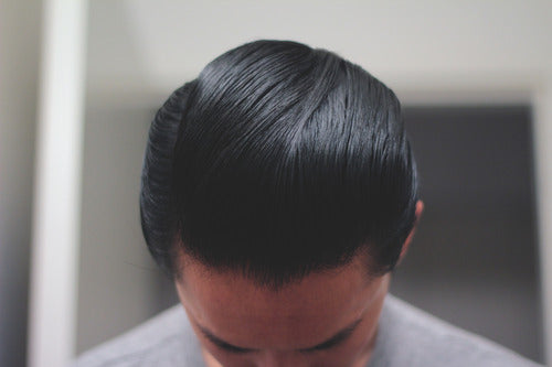Hair Styled With Black and White Hair Dressing Pomade