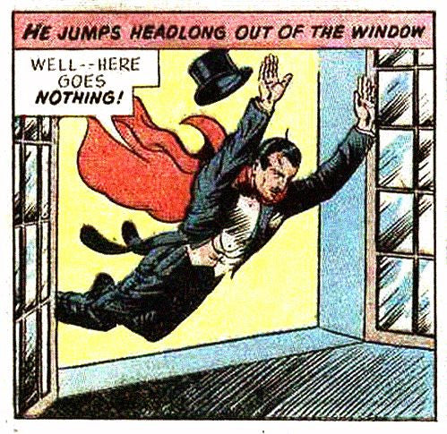 comic character jumping out the window