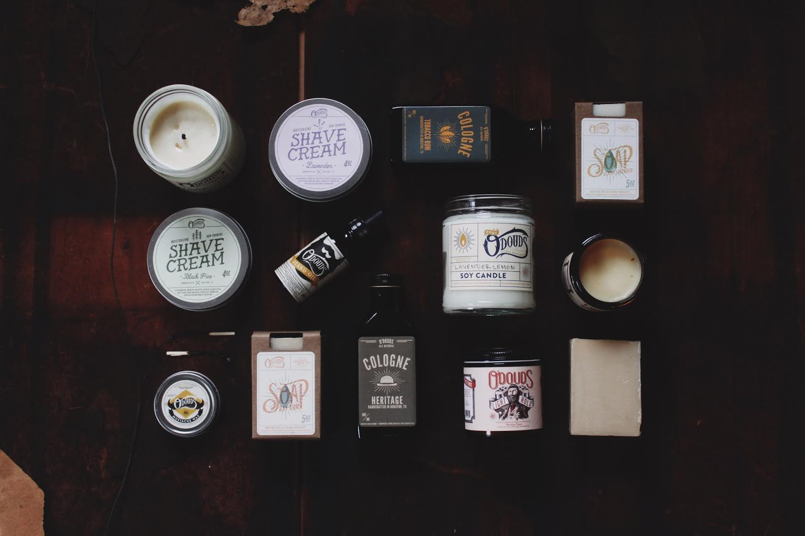 assortment of new O douds cologne, soap, wax and pomade