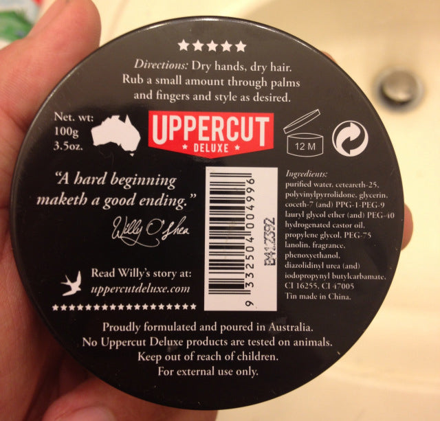 Uppercut Deluxe Pomade bottom label