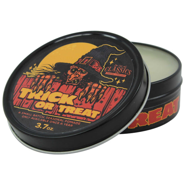 Open jar of The Classics Pomade Co. Trick or Treat