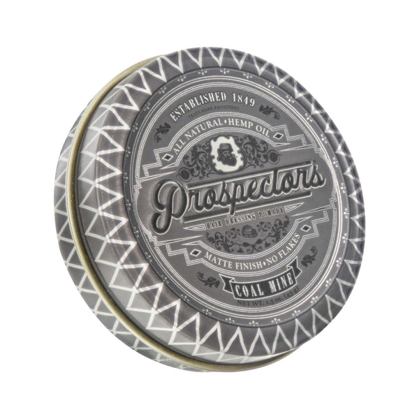 Prospectors Coal Mine Matte Pomade 1.5 ounce tin jar - Front view