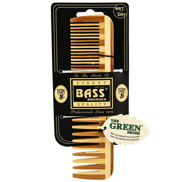 Bass Large Wood Comb packaging made from bamboo wood