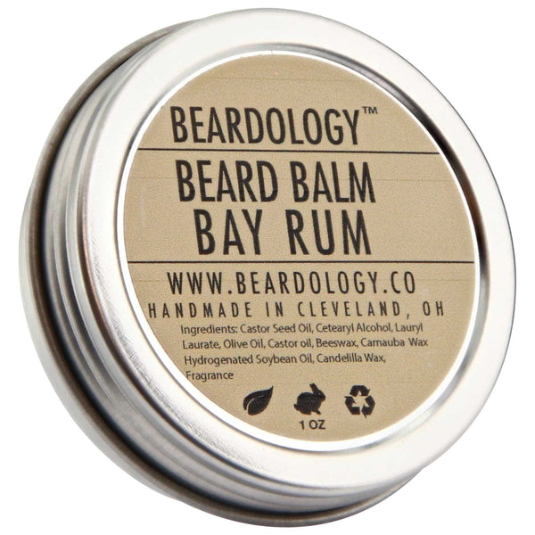 Beardology Bay Rum Beard Balm Top Label