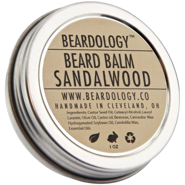 Beardology Sandalwood Beard Balm Top Label