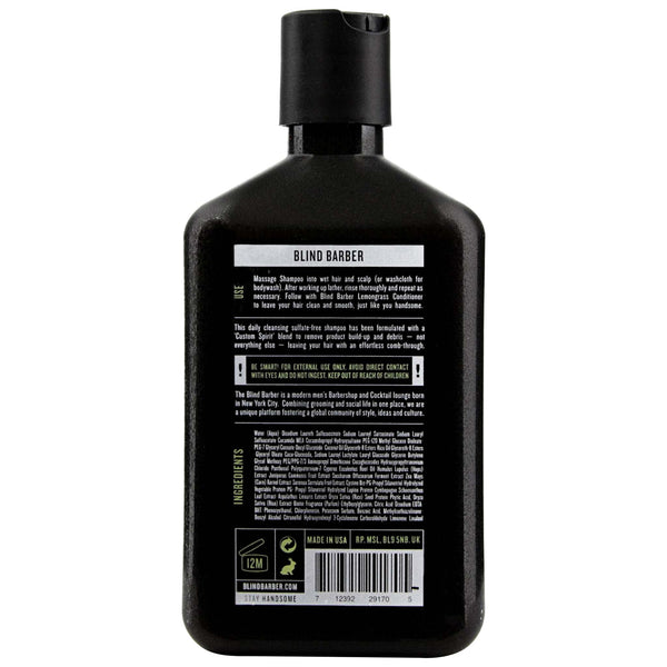 Back label of Blind Barber's Lemongrass Shampoo and Bodywash
