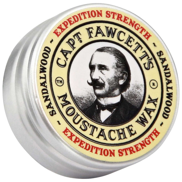 Captain Fawcett's Moustache Wax Expedition Strength Top Label