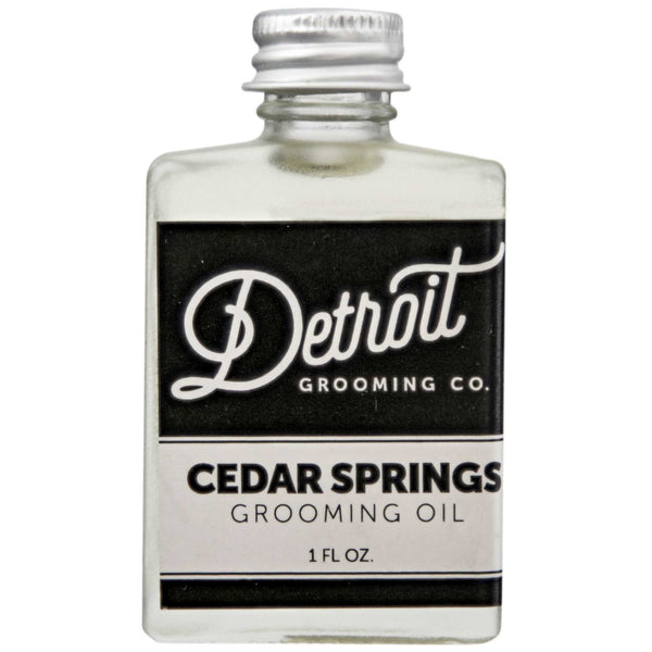 Detroit Grooming Cedar Springs Beard Oil Front Label