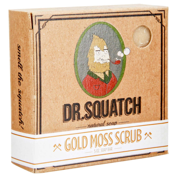 Dr. Squatch Gold Moss Scrub Bar Soap box packaging