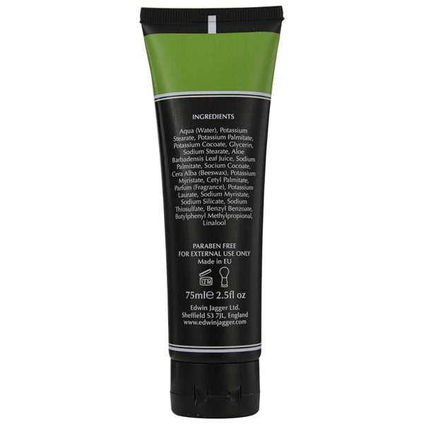 Edwin Jagger Aloe Vera Shave Cream Back Label Ingredients List