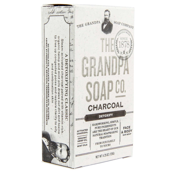 grandpas charoal soap packaging and box