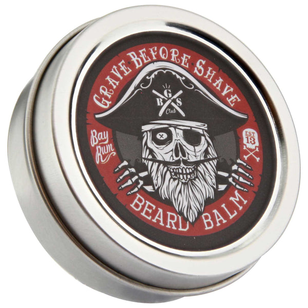 Grave Before Shave Bay Rum Beard Balm Top Label