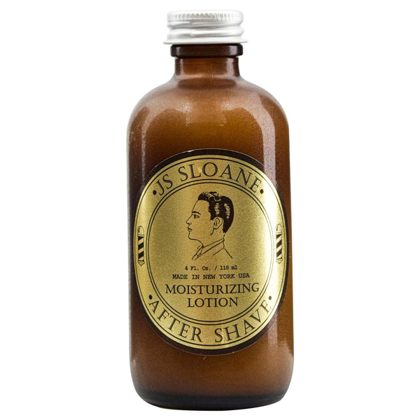 JS Sloane Aftershave Moisturizing Lotion bottle and gold label