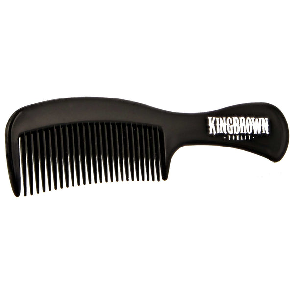 side angle of king brown handle comb for styling hair