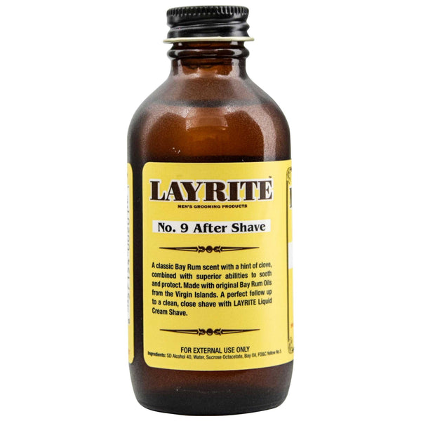 Back Label and Ingredients of Layrite No. 9 Bay Rum Aftershave