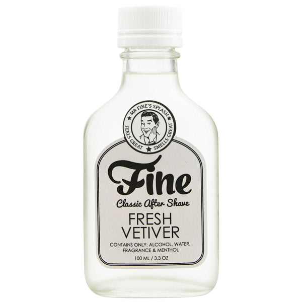 front of Mr. Fine Fresh Vetiver After Shave bottle