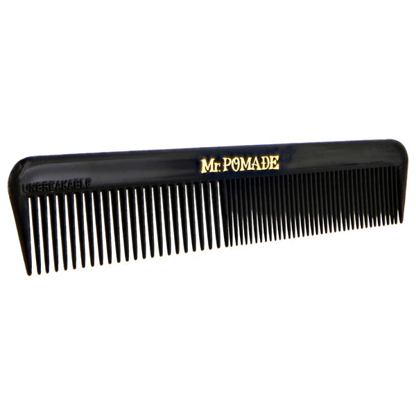 slanted view of the Mr. Pomade pocket comb in black