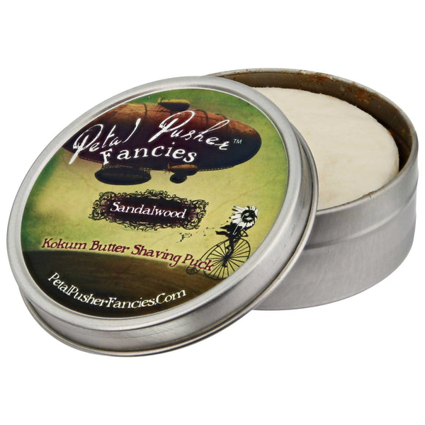 Petal Pusher Fancies Kokum Butter Shave Soap Sandalwood Open