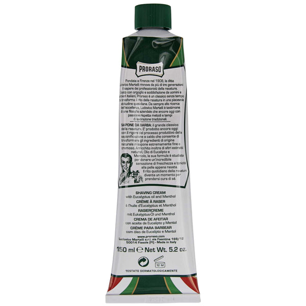 Back label of Proraso Shave Cream in Tube and Aloe & Vitamin E