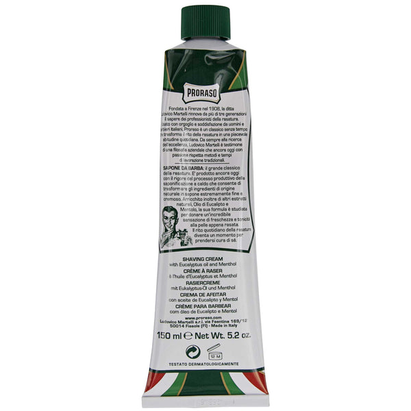 Back label and ingredients list of proraso shave cream in tube, refresh