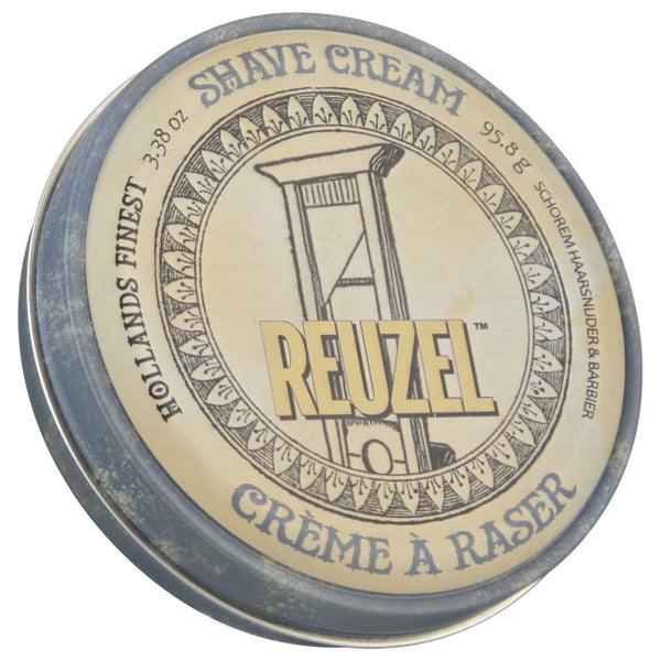 Reuzel Shave Cream tin with white packaging