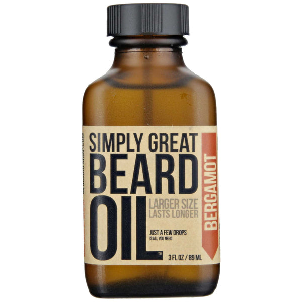 Simply Great Beard Oil Bergamot Scent Front Label