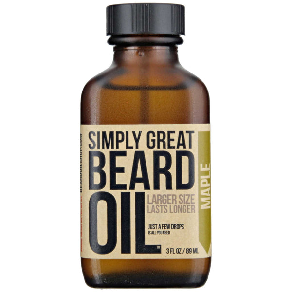 Simply Great Beard Oil Maple Scent Front Label
