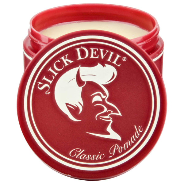 open can of slick devil classic pomade with it's wax formula