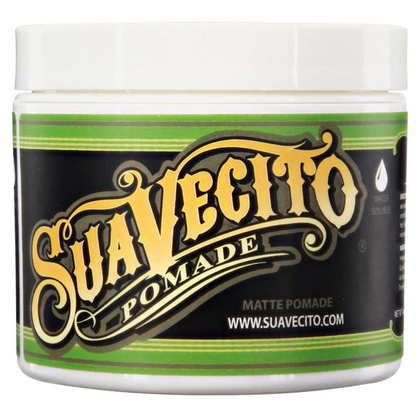 Suavecito Matte Pomade Green Can Side Label Logo