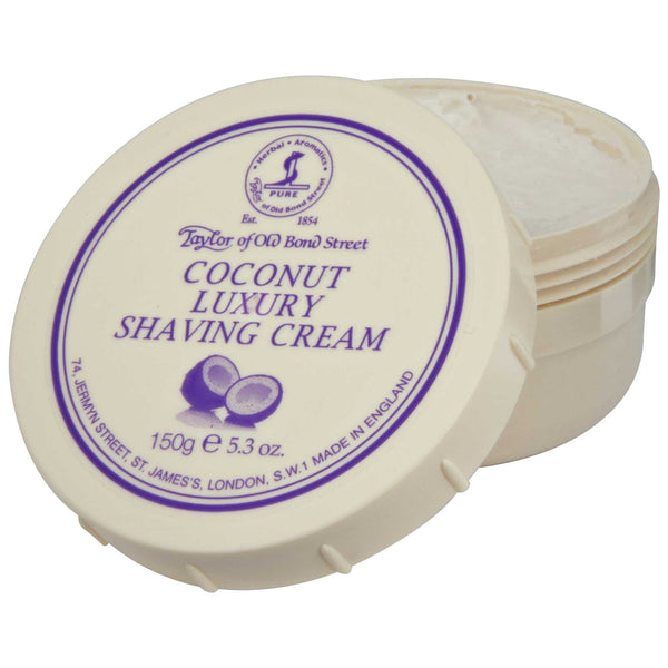 open jar of taylor of old bond street coconut shave cream