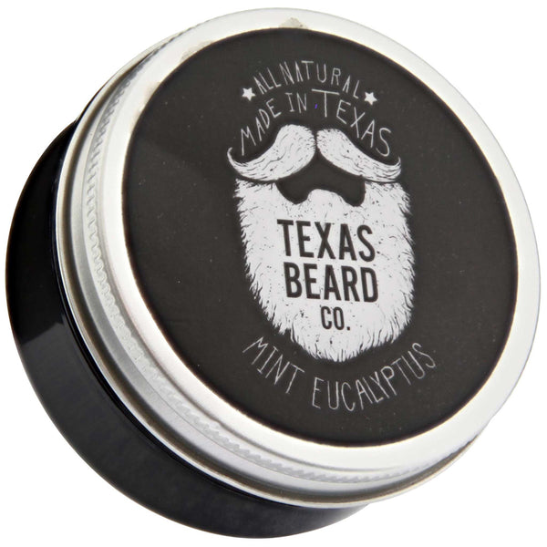 Texas Beard Co. Mint Eucalyptus Beard Balm Top Label