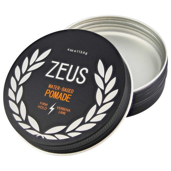 Zeus very strong pliable Firm Hold Pomade open jar