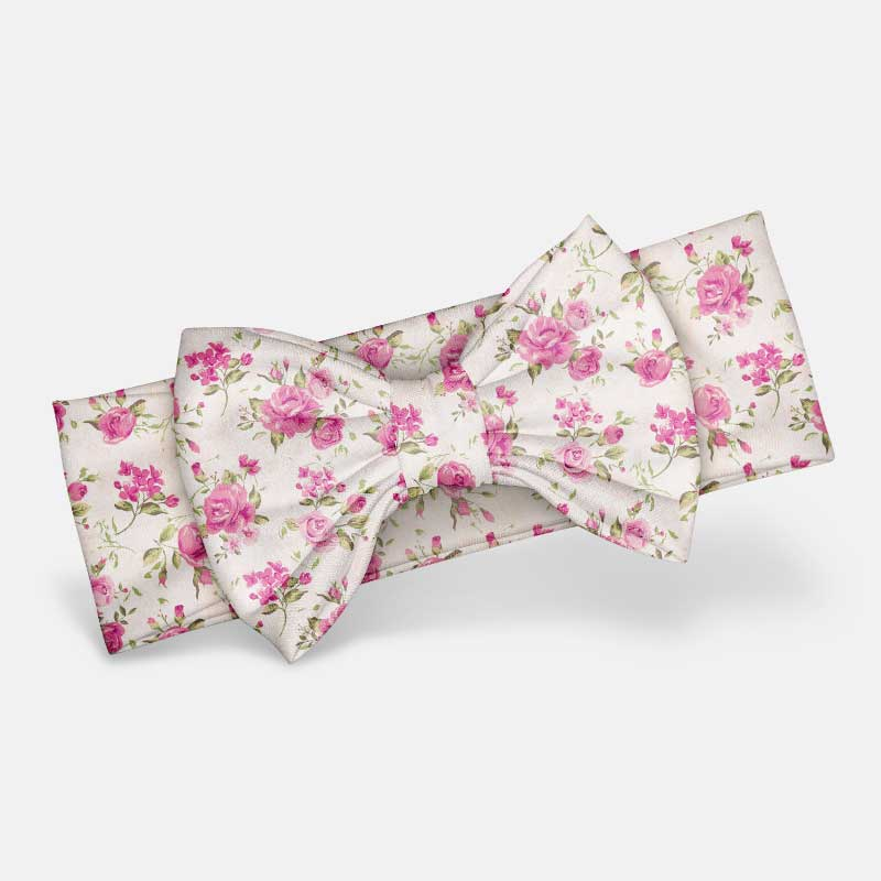Pink Floral - Bow Headband