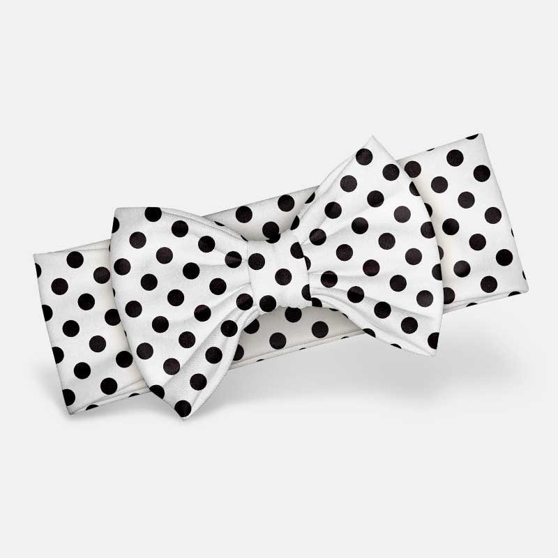 White & Black Polka Dot - Bow Headband