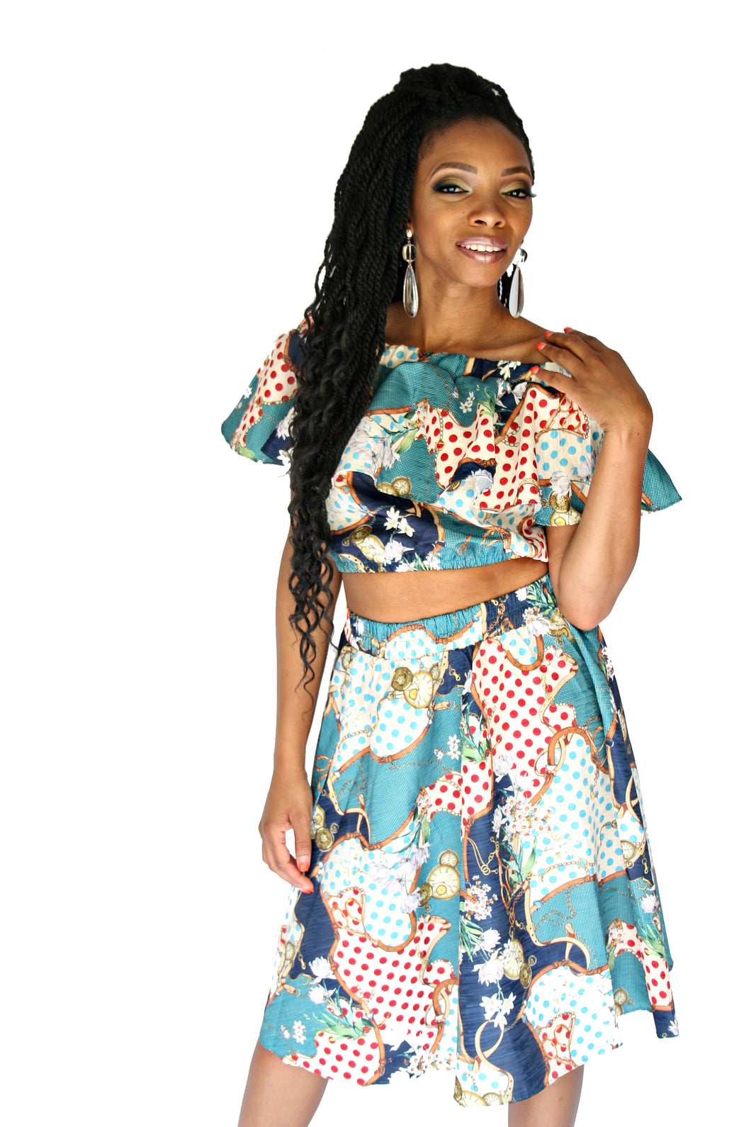 2 Piece  Havana- Turquoise Print Skirt Set