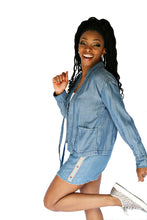 Load image into Gallery viewer, 2 Piece  Denim Short Set W/Fringe Hem Line