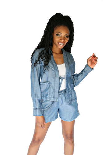 2 Piece  Denim Short Set W/Fringe Hem Line