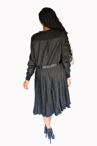 Black Pleated Back Dress
