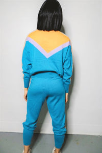 2 PC Turqoise Knit Jogging Suit