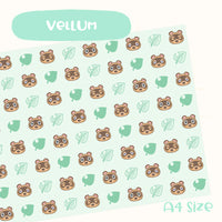 Cute Hand-Drawn Animal Crossing Inspired Vellum- A4 Size