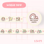 Cute My Little Puffy Drink Coffee Read Books Washi Tape
