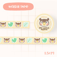 Cute Hand Drawn Animal Crossing Inspired Washi Tape - Blathers