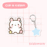 Cute Bunny Puffy Clip And Charm Set