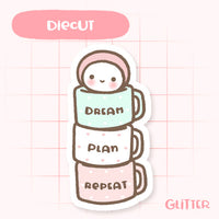 Cute Glitter 'Dream, Plan, Repeat' Die Cut