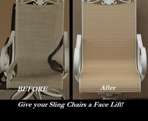 We Can Totally Transform The Look Of Your Tired And Worn Sling Furniture.  We Use Top Of The Line Replacement Sling Fabric. Choose From Over 100  Colors.
